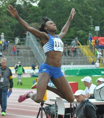 Bild: Sosthene Moguenara beim Diamond-League-Meeting Stockholm 2014