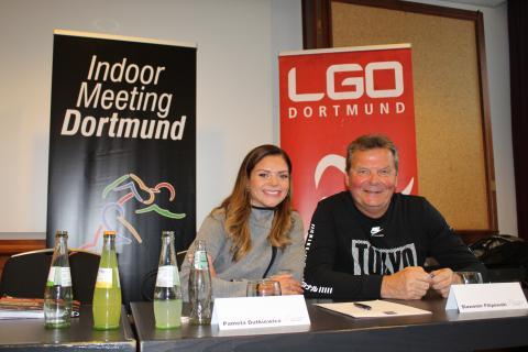 Hürdensprinterin Pamela Dutkiewicz und Trainer Slawo Filipowski in Dortmund. (Foto: TV 01)