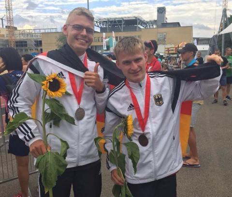 Silbermedaille im Weitsprung: Dennis Rill (links). (Foto: TV01)